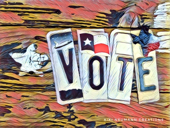 """Collage of Tx License Plate letters spelling """"VOTE"""""""