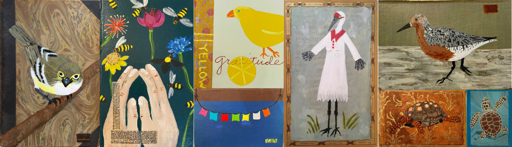 Collage of paintings by Isabella Scurry Chapman, depicting birds, a turtle, prayer flags, wildflowers, and more.