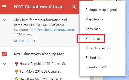 google maps, circled chinatown shopping guide