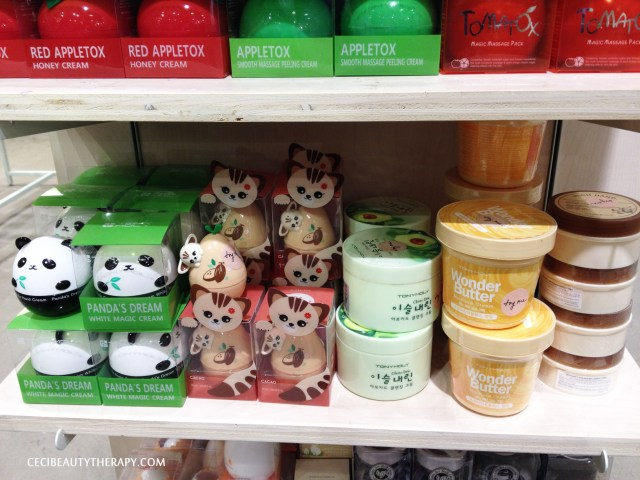Tony Moly Panda's Dream white massage cream, The Face Shop hand cream cat, Tony Moly Wonder Butter and I can't remember what those other two tubs are.  opps.