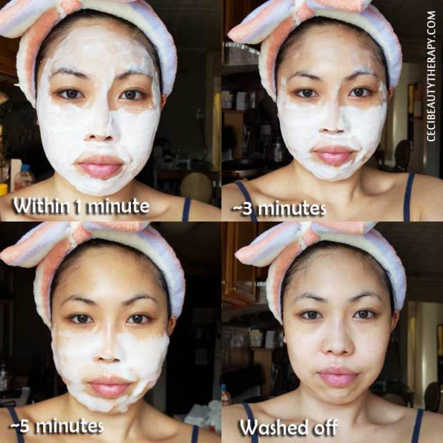 Serendibeauty's O2 mask - Stages of bubbling. All that good oxygen surrounding your skin.