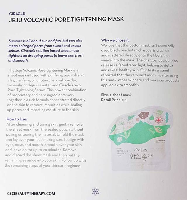 Ciracle Jeju Volcanic Pore-Tightening Mask booklet info