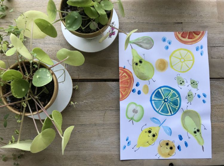 Fruit aquarel poppetjes