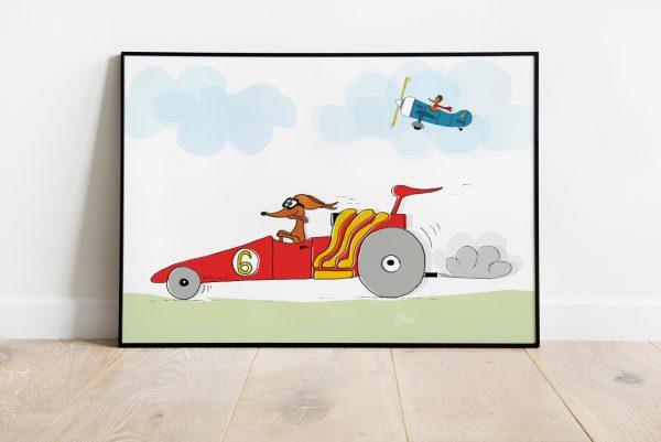 Teckel poster racewagen