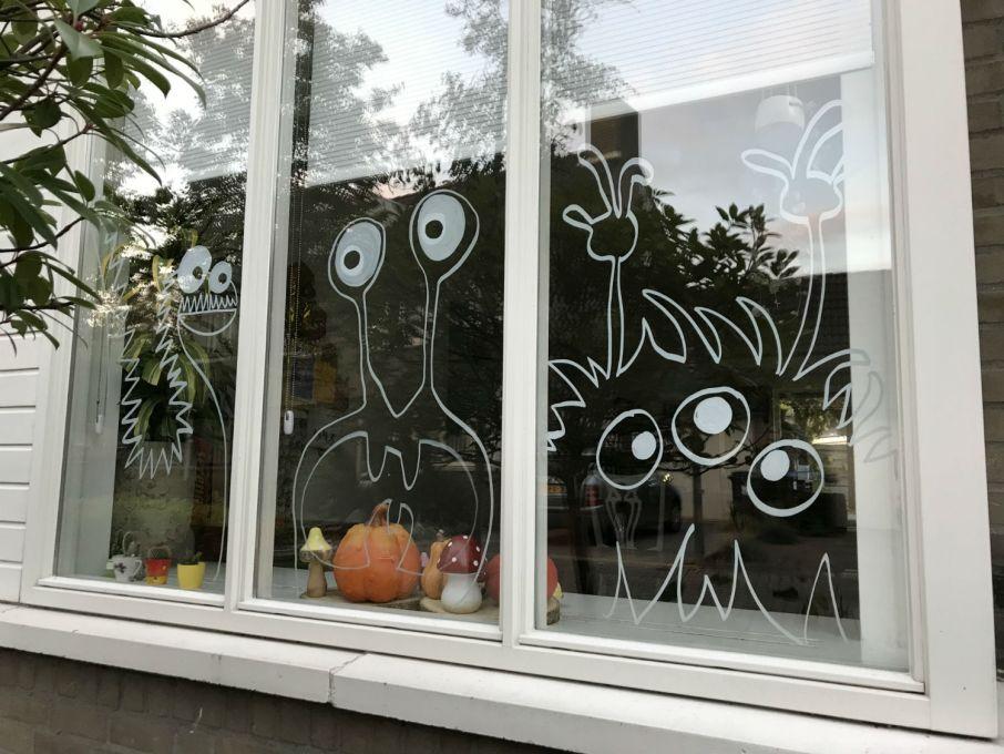 Halloween raam - Halloween raamtekening - Halloween raamdecoratie