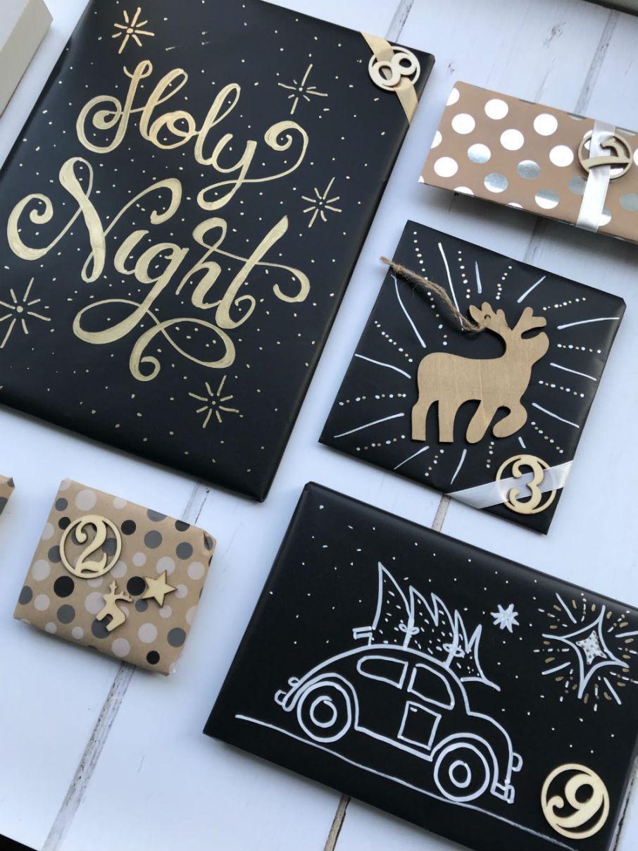 Krijtbord papier DIY - originele inpak manieren - inpak ideeen