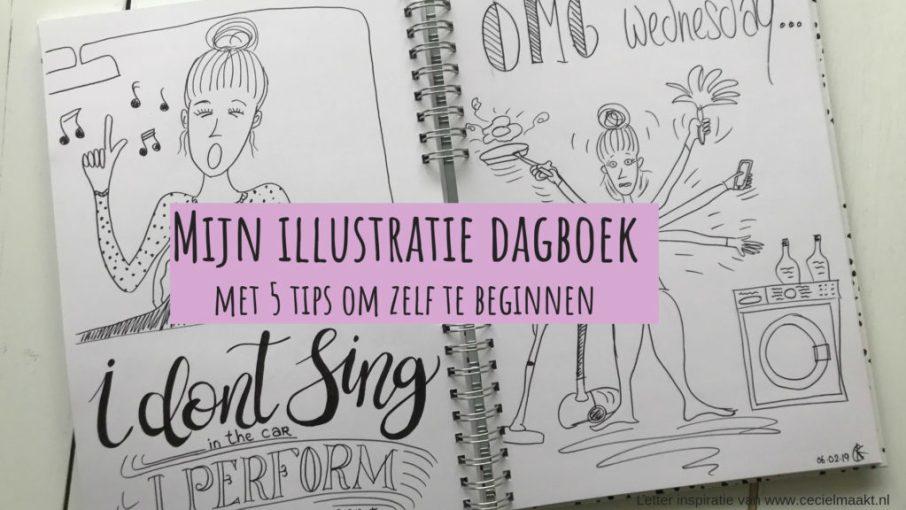 dagboek met illustraties en glimlachende vrouw