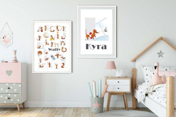 ABC Poster, Alfabet Poster, Kinderkamer Poster, letterprint kinderkamer, gepersonaliseerde poster, babykamer poster, teckel dieren poster