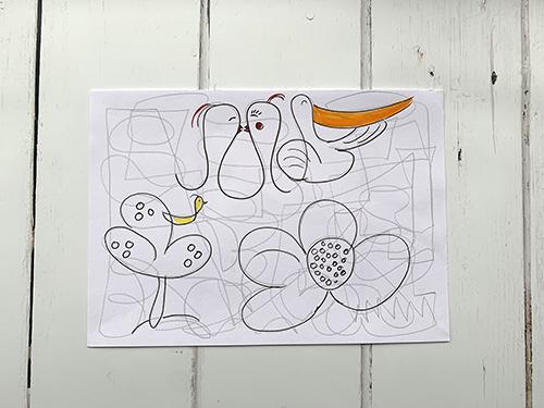 Tekening met lijnen en figuren