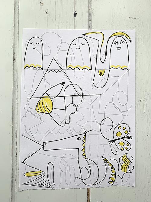 Tekening met lijnen en figuurtjes