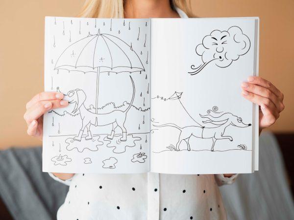 teckel kleurboek Wally - teckel - honden kleurboek