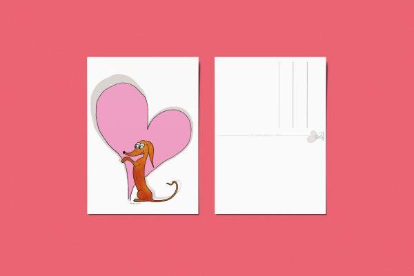 Valentijnskaart teckel- Hart kaart teckel - Wally kaart - I love you kaart