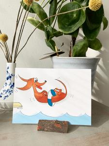 Lekker op vakantie kaart in houten kaarthouder