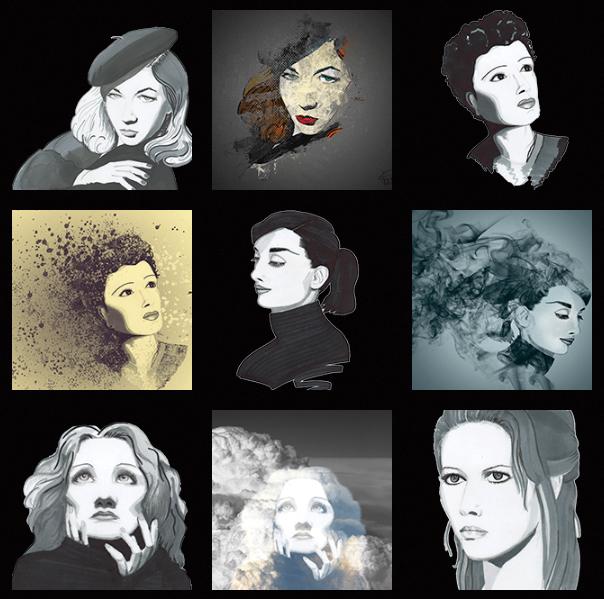 planche de dessins realises a partir de photos des studios harcourt