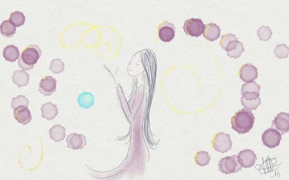 dessin d une femme soufflant sur des bulles roses et grises