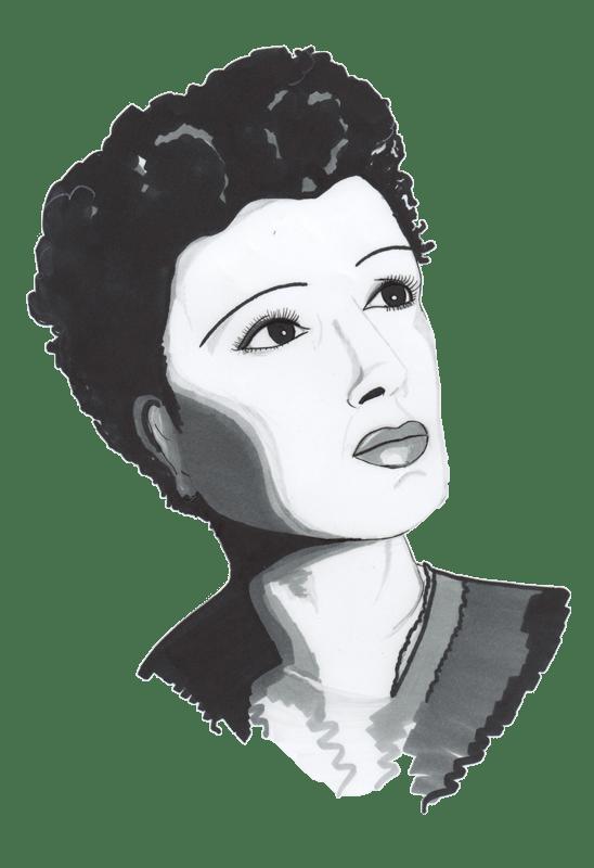dessin representant Edith Piaf réalisé par cecile jonquiere - cecile jonquieres