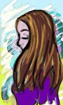 dessin d une femme de profil réalisé par cecile jonquiere - cecile jonquieres