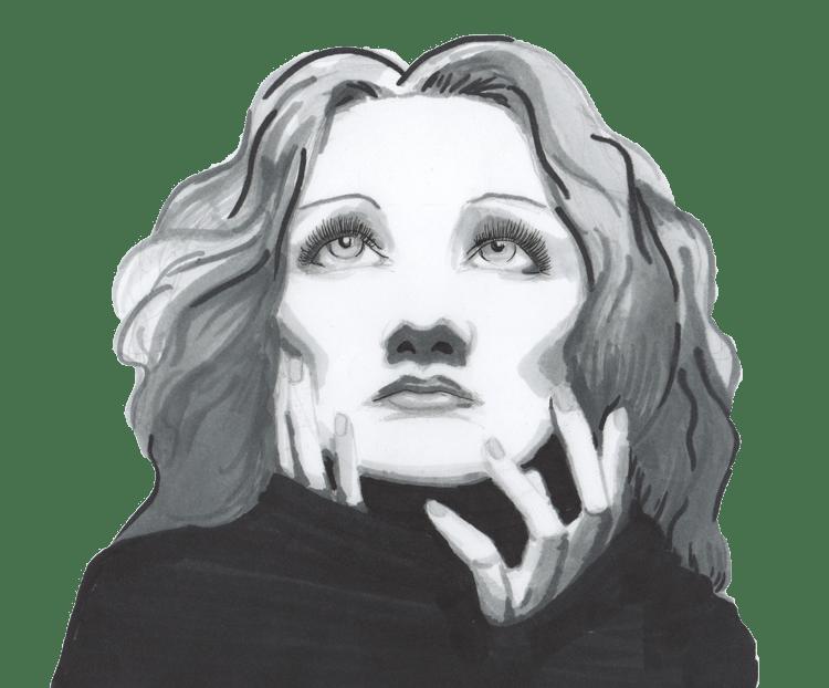 dessin representant Marlene Dietrich regardant vers le haut