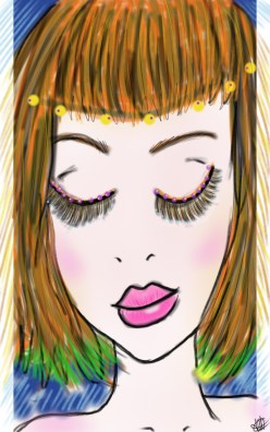 dessin representant une jeune femme maquillee et coloree
