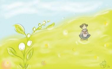 dessin d une petite fille lisant assise dans l herbe derriere un grand brin de mguet réalisé par cecile jonquiere - cecile jonquieres