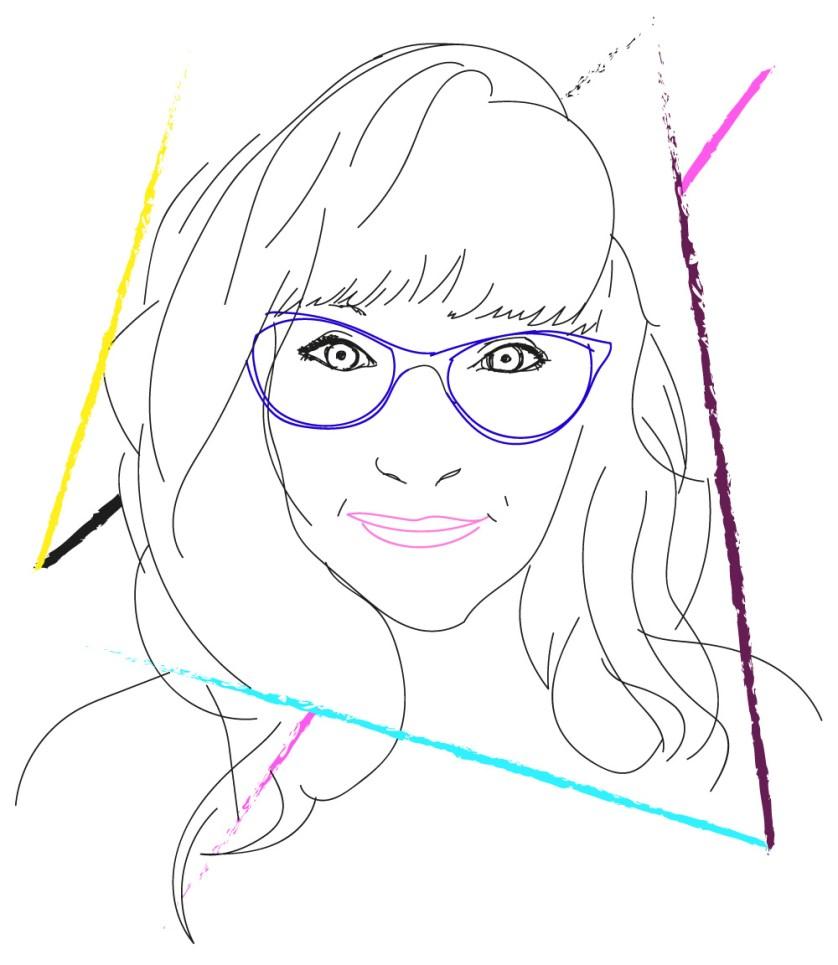 autoportrait graphique coloré de cecile jonquiere - cecile jonquieres