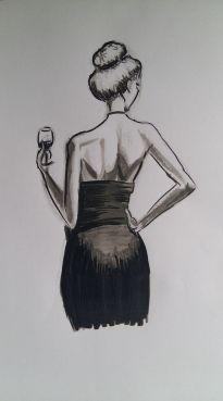 dessin representant une femme de dos qui tient un verre de vin