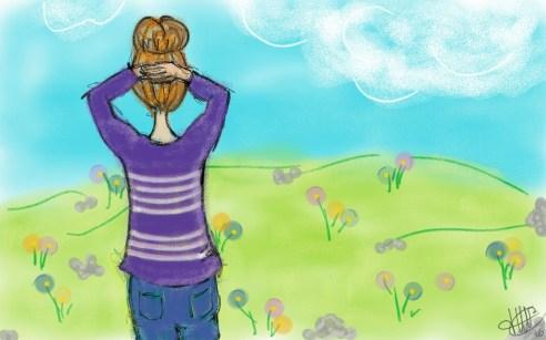 dessin d une femme de dos sur une colline fleurie