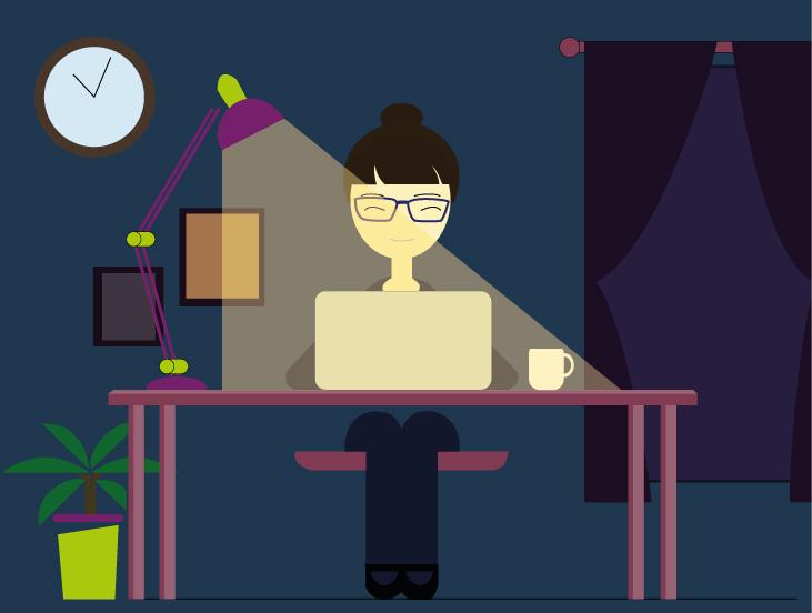 illustration en flat design representant cecile jonquieres travaillant sur son pc la nuit