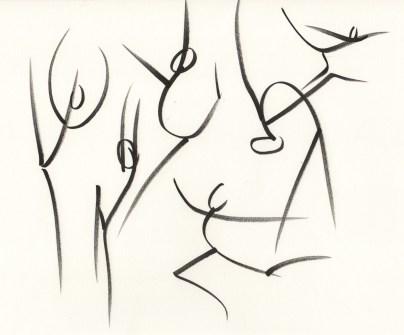 esquisse representant des silhouettes dansantes réalisé par cecile jonquiere - cecile jonquieres