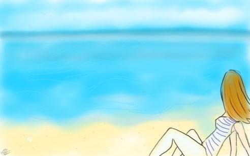dessin d'une femme portant une mariniere assise sur la plage et regardant l horizon