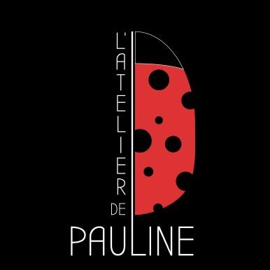 logo atelier de pauline styliste ongulaire representant une coccinelle sur fond noir