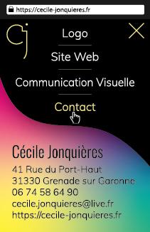 Carte de visite (verso) de Cécile Jonquières Graphiste Webdesigner Illustratrice en région Toulousaine