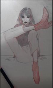 Dessin stylisé en rouge et bleu d'une femme au regard déterminé, assise à même le sol
