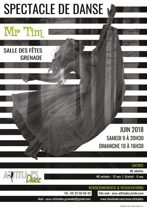 affiche asso attitudes spectacle de danse de fin d annee 2018 réalisé par cecile jonquiere - cecile jonquieres