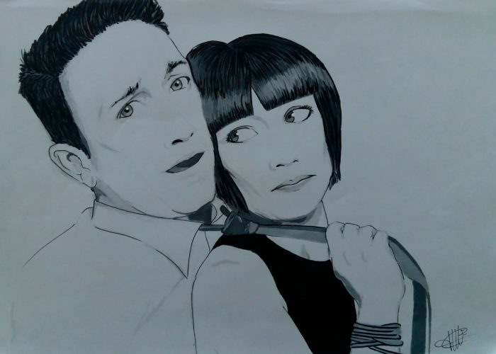 dessin representant un couple amoureux réalisé par cecile jonquiere - cecile jonquieres