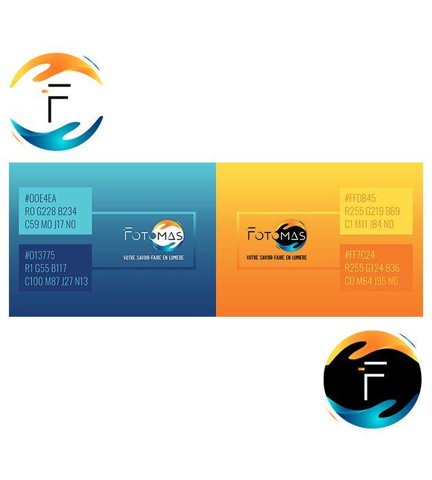 planche de logos et palettes de couleur pour FOTOMAS