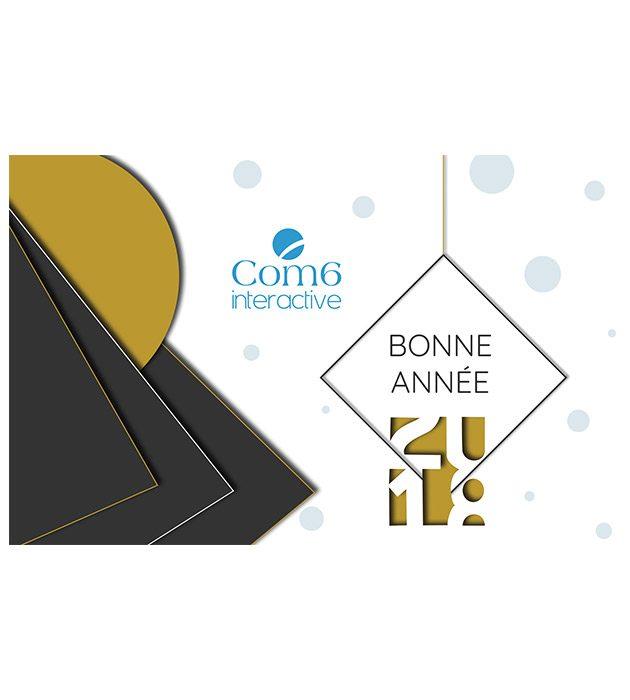 Carte de voeux 2018 de Com6 interactive créée par Cécile Jonquières Graphiste webdesigner illustratrice 31