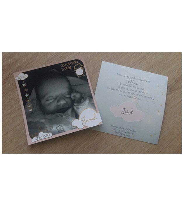 Faire-part de naissance de l'adorable petite Janel créé par Cécile Jonquières Graphiste webdesigner illustratrice 31