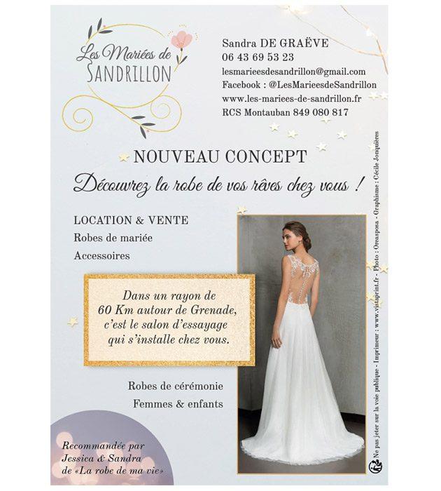 Flyer Les Mariées de Sandrillon créé par Cécile Jonquières Graphiste webdesigner illustratrice 31