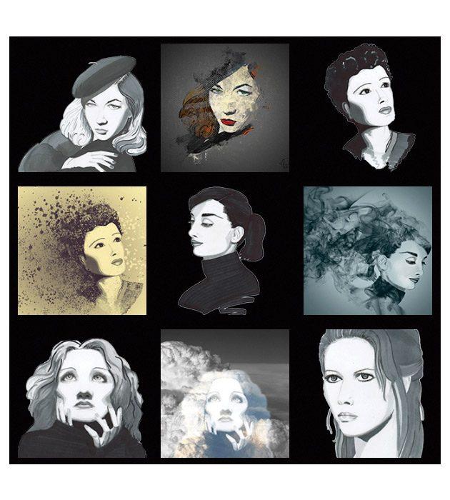 Planche de dessin à partir de photo des Studios Harcourt créée par Cécile Jonquières Graphiste webdesigner illustratrice 31
