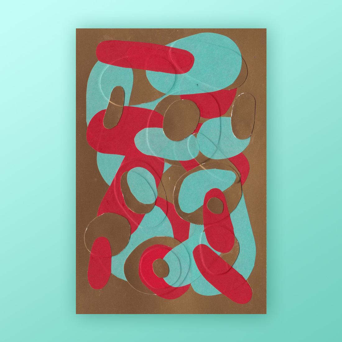 Petit collage de papier bleu turquoise et rouge sur fond doré format A6