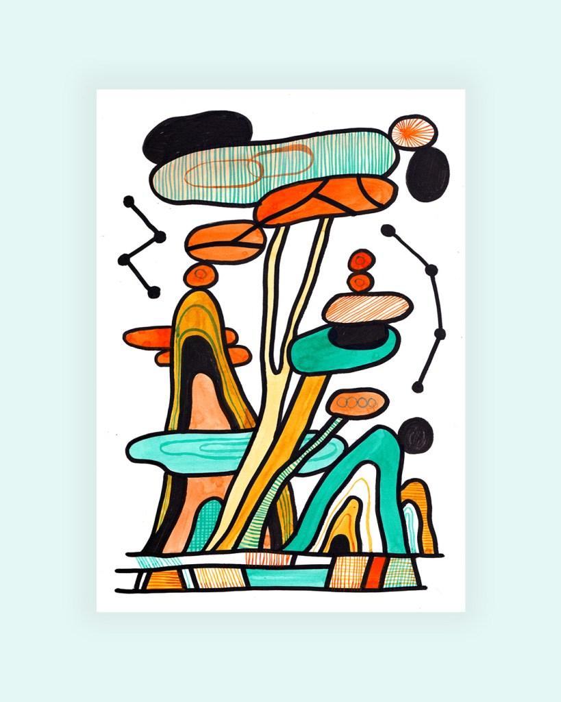 Dessin de paysage au posca et à l'encre verte et orange sur format A4 par Cécile Jaillard.