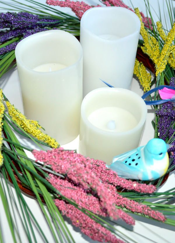 wreath and candle decoration for Easter and othe holidays, great spring piece