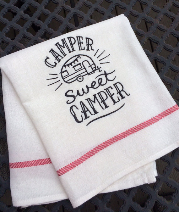 vintage camper tea towel