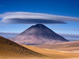 Licancabur Volcano is located on the border between Chile and Bolivia
