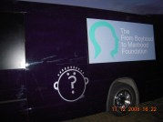 outside night view of bus