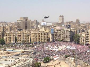 30 June 2013 Four military helicopters were witnessed buzzing over Tahrir Square amid cheering crowds