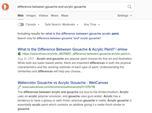 DuckDuckGo search results for the difference between gouache and acrylic gouache