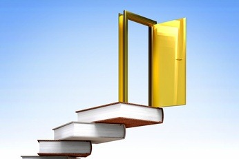 gold door and books