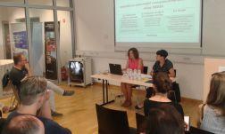 Javni posvet Ustvarjalna Evropa po letu 2020, razprava sklop MEDIA, 14. jun. 2018: Irena Ostrouška, Ministrstvo za kulturo, in Sabina Briški Karlić, Motovila)